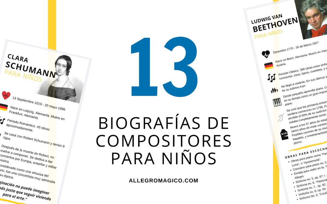 Descarga: 13 Biografías de Compositores de Música Clásica para niños
