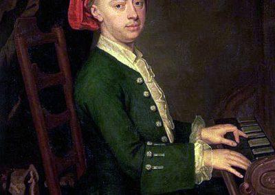 Pintura de Händel al clave.