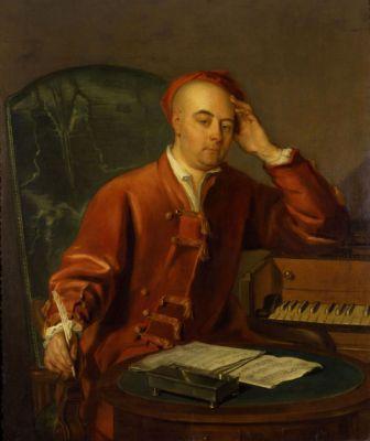 Pintura de Händel componiendo.