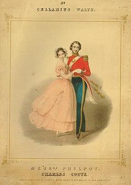 La reina Victoria y el príncipe Albert de Inglaterra bailando un vals.
