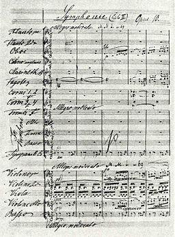 Partitura original de Sinfonía II de Dvorák