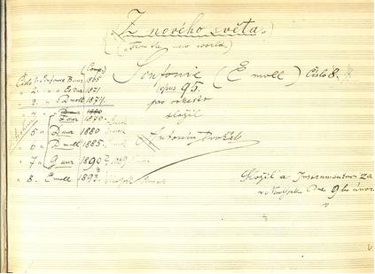Manuscrito original de Sinfonía 9 de Dvorák